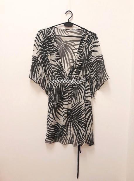 Sukienka tunika szyfonowa palmy safari Vneck biało czarna 34 36 38 40