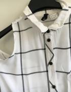 koszula w kratę wycięcia na ramionach biała