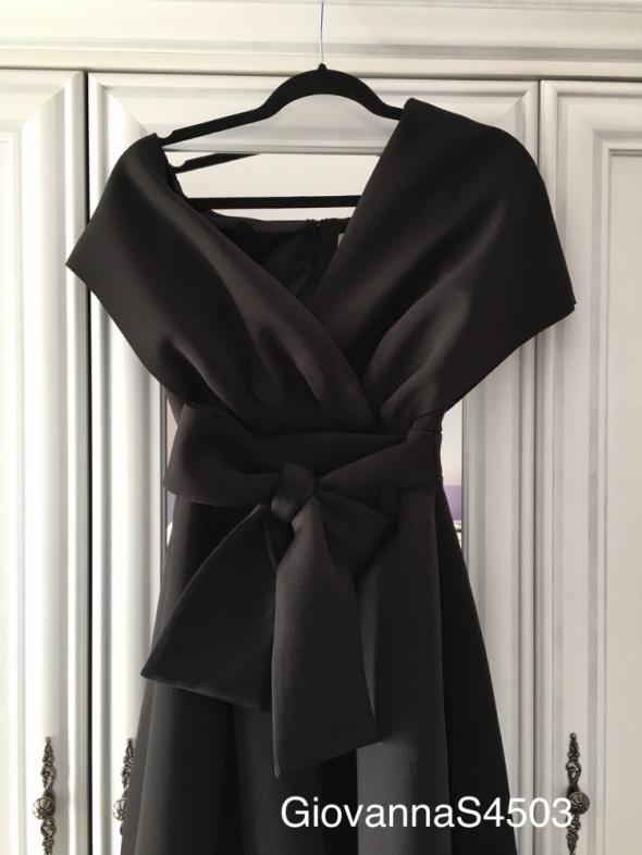 Sukienka rozkloszowana Asos czarna czerń kokarda z wiązaniem 38...