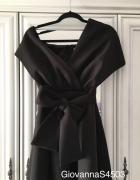 Sukienka rozkloszowana Asos czarna czerń kokarda z wiązaniem 38 M