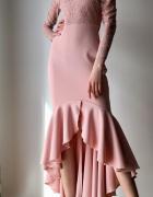 Sukienka koronkowa koronka serce maxi falbana bufki Asos 36 S syrenka pudrowy róż