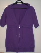 fioletowa bluza kamizelka z kapturem jak nowa 38