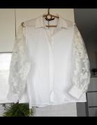 Zara nowa biała koszula z rękawami z organzy bufiaste rękawy kw...