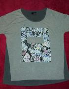 Bodyflirt modny szary shirt z nadrukiem 36 38...