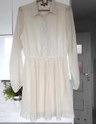 Bik Bok kremowa sukienka plisowana koszulowa mgiełka...
