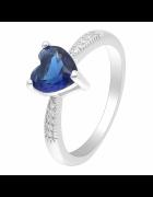 Nowy pierścionek srebrny kolor niebieska cyrkonia granatowe ser...