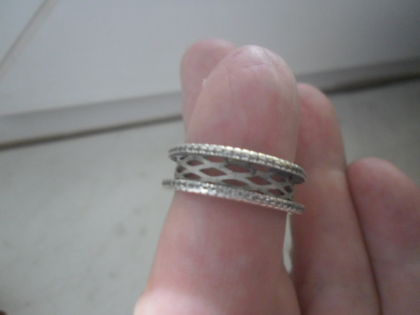 Ciekawa srebrna ozdobna potrójna obrączka 5 gr
