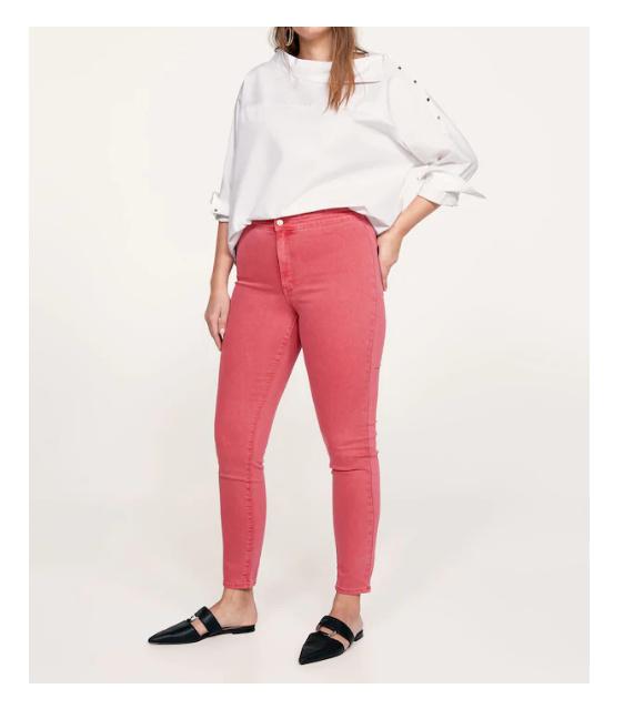 Spodnie Nowe spodnie dżinsy Mango Violeta 46 3XL jeansy jegginsy denim czerwone malinowe rurki skinny wysoki stan