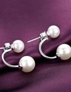 Nowe kolczyki z perełkami perły srebrne srebro 925 podwójne ele...
