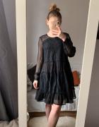 Czarna sukienka mohito M prześwitująca zdobienia...