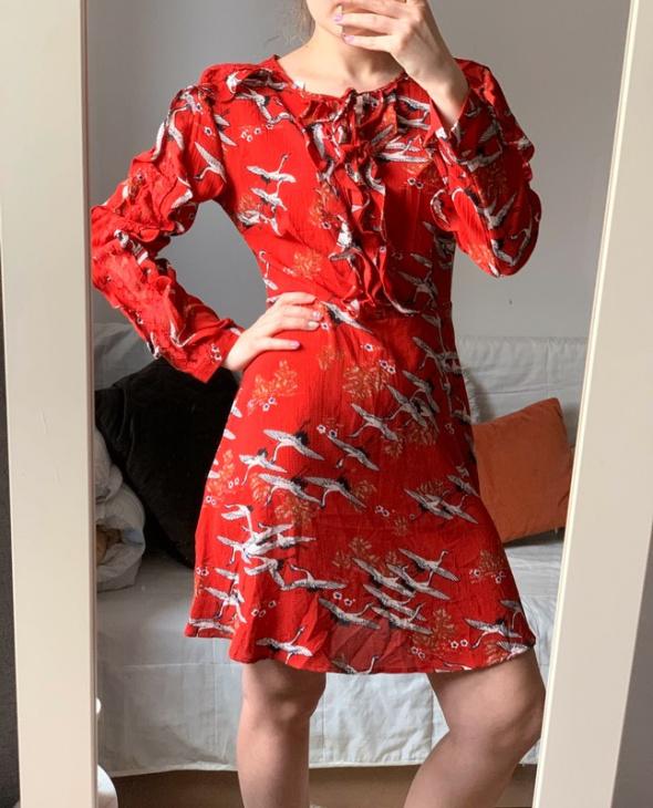 Nowa czerwona sukienka we wzory M printy odkryte plecy...