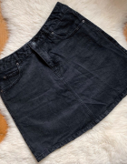 Spódniczka mini jeansowa szara Pull&Bear jeans gwiazdy L...