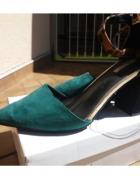 Buty czółenka 41r zielone panterka