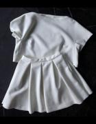 Handmade komplet pikowany bluzka i spódniczka złamana biel rozm...