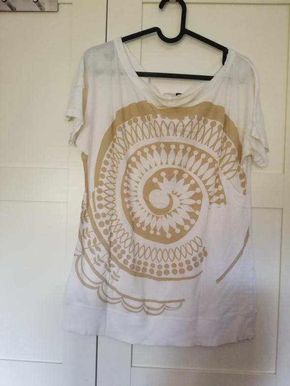 Biała bluzka ze złotym motywem H&M...
