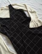 New Look sukienka ogrodniczka w kratkę z guzikami trapez retro ...