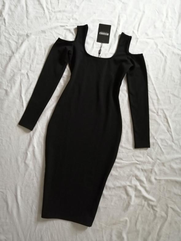 Missguided sukienka midi tekstura odkryte ramiona cold shoulder...