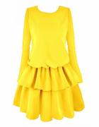 Musztardowa sukienka falbany awanti one size