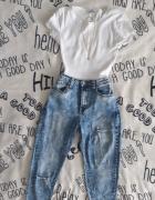 Spodnie jeansy rurki wysoki stan...