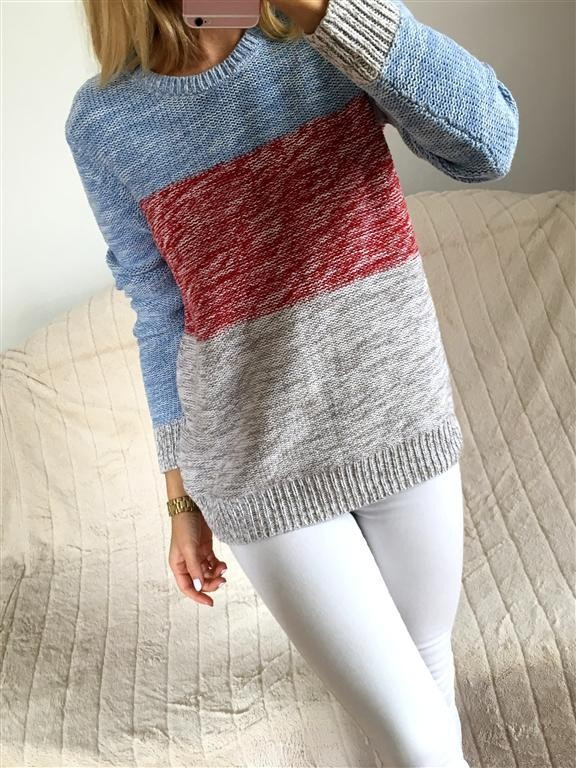 GAp śliczny sweterek tricolor rozmiar M L...