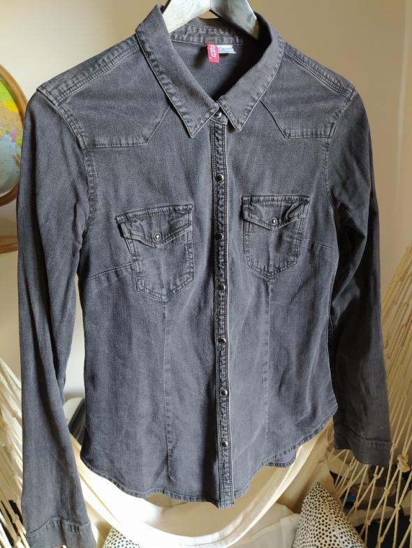 Szara koszula jeansowa H&M Divided L 40 na napy taliowana...