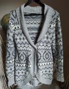 Sweter wzory szary 40 L michele boyard dłuższy ciepły...