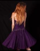 fiołkowa suknia balowa bez wad regulacja na wiązanie gorsetowe ...