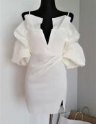 Biała sukienka z bufiastymi rękawami Asos