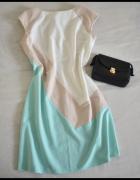 RYŁKO sukienka trójkolorowa pastelowa 40 L...