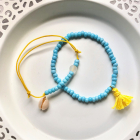 Komplet bransoletek niebieski żółty muszelka koraliki chwost summer