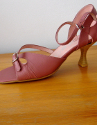Różowe Sandały na Obcasie 36 Skóra...