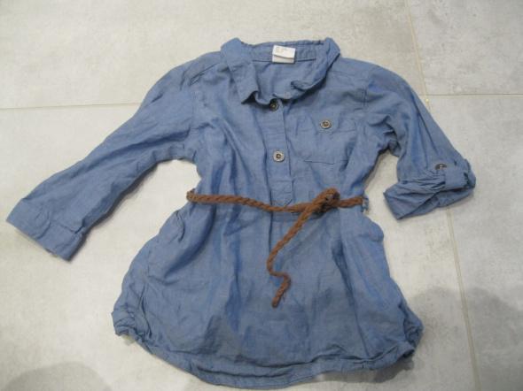 sukienka schmizjerka H&M 74 niebieska z paskiem