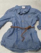 sukienka schmizjerka H&M 74 niebieska z paskiem...