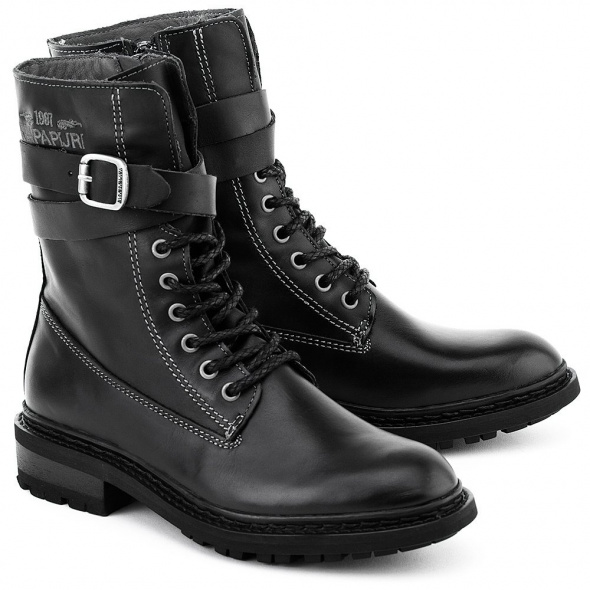 Napapijri botki worker boots ocieplane czarne skórzane skóra
