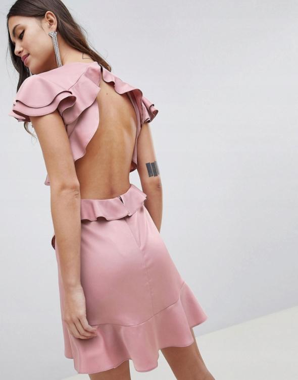 Różowa sukienka brudny róż wycięcia...