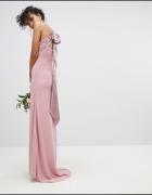 Długa sukienka różowa brudny róż odkryte plecy kokardka...