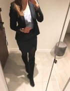 Mint&berry spódnica elegancka klasyczna granatowa złoty zip S...