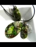 Zielone jaspisy i srebro oryginalny zestaw biżuterii...