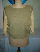 Modny sweterek w kolorze khaki oliwkowy lekki krótki M nude...