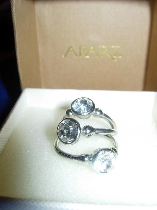 Pierścionki Potrójny pierścionek trzy pierścionki srebrne z cyrkoniami biżuteria sztuczna SIX