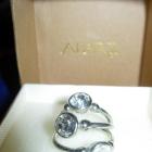 Potrójny pierścionek trzy pierścionki srebrne z cyrkoniami biżuteria sztuczna SIX