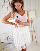 śliczna koronkowa sukienka falbanki plisy S M L XL beżowa...