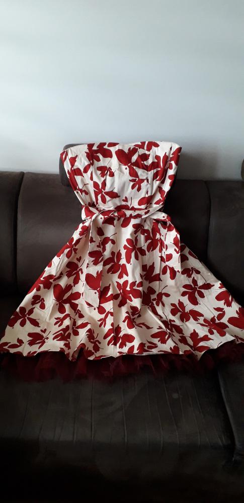Sukienka w kwiaty retro pin up M