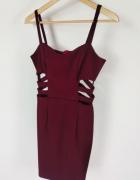 Sukienka bordowa dopasowana z międzyświęciami XS wzrost 165...