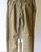 Spodnie H&M Brązowe Lampasy S 36 Rurki Brąz...