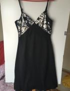 Czarna sukienka na naramkach letnia r 42