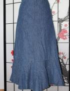 spódnica długa midi jeansowa dżins maxi boho...