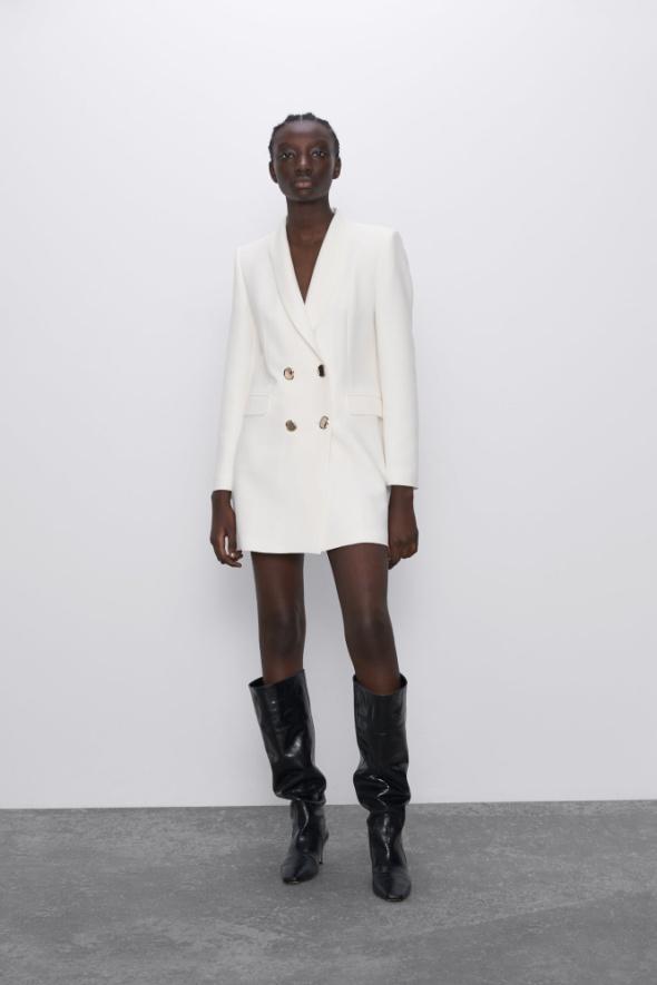 Zara nowa marynarka sukienka surdut biała złote guziki dwurzędowa