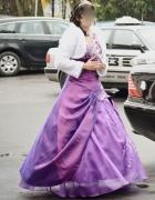 Fioletowa suknia ślubna balowa S 36 gorset księżniczka