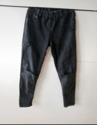 Ciemne jeansy rurki z dziurami z przetarciami spodnie w gumkę w...